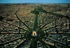 Aerial view of the Arc de Triomphe, Paris. (Different views of famous landmarks with unexpected surroundings - mostly not too bad, but the wasteland around the Taj Mahal is pretty gross) Famous Landmarks, Famous Places, Historical Landmarks, Historical Sites, Places Around The World, Around The Worlds, Beautiful World, Beautiful Places, City From Above