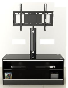 """LED/LCD/Plasma Black Satin Finish MDF TV Stand with TV Mount up to 52""""…"""