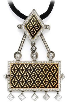 Enamel, and Diamond Watch Pendant, by Cartier, Circa 1920.