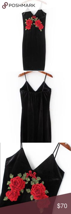 Velvet Cami Dress with Floral Embroidery D E S C R I P T I O N                                    Black Velvet Cami Dress with Floral Embroidery.  C O N T E N T 100% Velvet  A T T R I B U T E S  V-Neck Midi Length Spaghetti straps   F I N I S H  T H E  L O O K Slip it on with your favorite black boots or sky-high heels. This dress is all you need. Dresses Midi