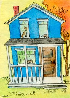 Original ACEO Painting -- Happy blue house. $35.00, via Etsy.