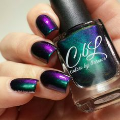 Colors by llarowe Stamping Polish - Shifty (on its own) is a green to purple to pink to blue multi chrome. Swatch by @delishiousnails.