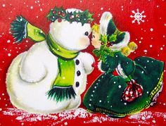 Vintage Christmas Card. Retro Christmas Card. Vintage Hallmark Card. Christmas Girl.