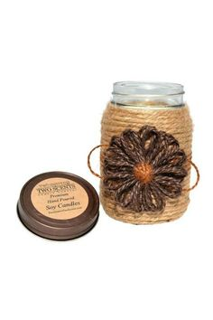 "Cappuccino Espresso Scent - A delightful cappuccino scent! A creamy espresso coffeehouse blend with whispers of dark chocolate honey and maple on a background of rich warm vanilla. Large: Weighs 1 Pound 9oz; 5 1/4"" Tall x 3 1/2"" Wide Our candles are handmade hand decorated and wrapped in 100% natural jute.  Cappuccino Espresso Candle by Two Sisters Two Scents. Home & Gifts - Home Decor - Candles & Scents Ohio"