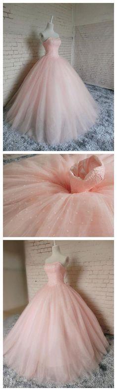 Pink Ball Gown Beading Prom Dress,Long Pro m Dresses,Charming Prom Dresses,Evening Dress, Prom Gowns, Formal Women Dress,prom dress