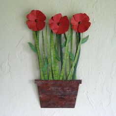 Metal art sculpture wall decor metal flowers Poppies upcycled kitchen art flower pot large size 12 x 19. $155.00, via Etsy.
