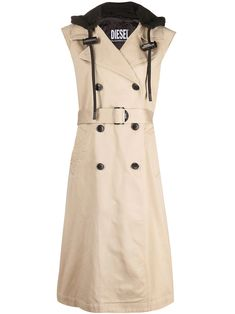 Shop Diesel sleeveless double breasted trench coat with Express Delivery - FARFETCH Cutaway Collar, Double Breasted Trench Coat, Mid Length, Diesel, Women Wear, Dresses For Work, Beige, Shirt Dress, Rainy Weather