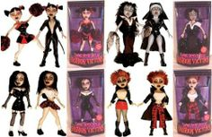 LIVING DEAD DOLLS FASHION VICTIMS SET OF 4 by Metzco. $199.99. Living Dead Doll Fashion Victims: Series 1 set of 4. All dolls come brand new and in factory packaging.     Set of 4 includes Kitty, Sheena, Sadie, and Lilith.     One part femme fatale, one part fashion diva, 100% Living Dead Dolls. Each doll is 13 lucky inches tall and cursed with deadly curves.     Designed with unearthly articulation, and soft in all the right places, these dolls are no stiffs.     Each comes with...
