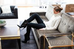 Love this casual and effortlessly chic outfit from Emerson Fry. They can do no wrong. I'd want wear this outfit all winter long. #ankleboots #chunkysweater