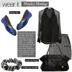 Love the pop of blue! The shoes & bag are great! Overall nice ensemble.