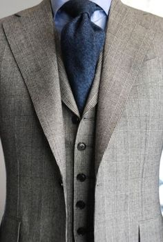 glen plaid gray, navy, and light blue with matching vest