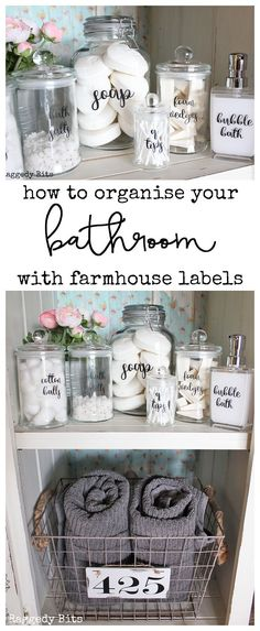 How to Organise your Bathroom with Farmhouse Bathroom Labels - DIY Badezimmer Dekor Bathroom Organisation, Diy Organization, Organized Bathroom, How To Organize A Bathroom, Organizing Ideas, Diy Bathroom Decor, Diy Home Decor, Farmhouse Decor Bathroom, Bathroom Storage Diy