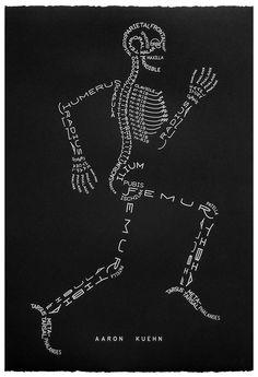 Skeleton Typogram, A Human Skeleton Illustration Made Using The Words For Each Bone. Nursing school just got a little easier Anatomy Bones, Anatomy Art, Yoga Anatomy, Gross Anatomy, Animal Anatomy, Anatomy Study, Human Skeleton, Skeleton Art, Skeleton Bones