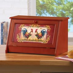 Sunflower Rooster Bread Storage Container Box for Kitchen Wooden Bread Box, Vintage Bread Boxes, Rooster Kitchen Decor, Rooster Decor, Rooster Plates, Rooster Art, Bread Storage, Discount Home Decor, Collections Etc