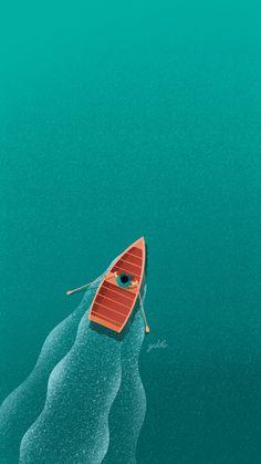 Ed Wallpaper, Scenery Wallpaper, Unique Wallpaper, Wallpaper For Your Phone, Boat Illustration, Digital Illustration, Minimalist Wallpaper, Minimalist Art, Images Kawaii