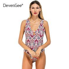 01df62b1c7 DevenGee Sexy Bodysuit Women 2017 Summer Elegant Deep V Floral Print Rompers  Womens Jumpsuit Female Body