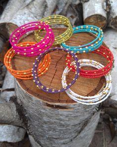 Items similar to GREEN & GOLD Beaded Wrap Bracelet, Memory Wire Bracelet, Wrap Around Bracelet, Beaded Bracelet Cuff, Stacked Bracelet on Et...