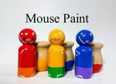 Ratón pintura inspirado Peg Doll conjunto Color Match niño