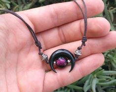 Black moon adjustable choker with silver filled purple bead and silver findings - Wear it as head piece, choker or custom lenght necklace Moon Jewelry, Jewelry Necklaces, Black Moon, Chokers, Beads, Trending Outfits, Unique Jewelry, Purple, Handmade Gifts