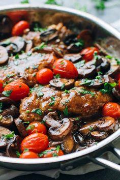 Drunken Chicken Marsala with Tomatoes (Sicilian Chicken Cacciatore)