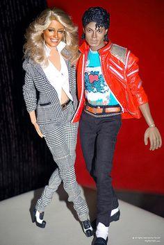 Amazing & creepy denizens of Doll World--Farrah Fawcett &Thriller Michael Jackson ! They both died on the same day in Michael Jackson Doll, Kate Jackson, Farrah Fawcett, Beautiful Barbie Dolls, Pretty Dolls, Sideshow Toys, Barbie Celebrity, Guys And Dolls, The Jacksons