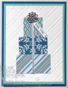 """DSP Christmas Gifts--Stamps: Itty Bitty Banners Paper: Island Indigo, Coastal Cabana, Whisper White & Winter Frost Specialty DSP Ink: Island Indigo Accessories: Stylish Stripes EF, Bitty Banners Framelits, 1/8"""" Silver Ribbon, & Frosted Finishes Embellishments"""