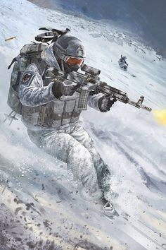 Russian special forces fighting in snow --Art Anime Military, Military Girl, Desenho New School, Military Drawings, Military Special Forces, Future Soldier, Army Wallpaper, Military Pictures, Gaming Wallpapers