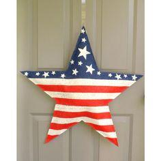 American Flag Star Burlap Door Hanger ($30) found on Polyvore