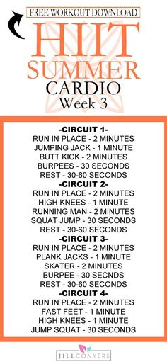Week 3 of the HIIT SUMMER Workout Series. Be prepared for success – download the strength and cardio workouts, fitness tracker and exercise index. Target every part of your body, shape and tone your muscles and burn calories in about 30 minutes. See your progress! Pin it now and workout later. Download the FREE printables at http://jillconyers.com /jillconyers/