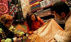 Sivasli Istanbul Yazmacisi - Murat Haşhaş is where Istanbul's fashion and interior designers go to pick up ikat fabrics for couture dresses and expensive cushion covers: The walls are lined with a rich kaleidoscope of antique and new, printed and woven fabrics from all over Turkey and central Asia. Especially wonderful are the rolls of ikat, tucked away in a black bin-liner under the desk.