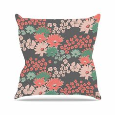 KESS InHouse ZM2010AOP03 18 x 18-Inch 'Zara Martina Mansen Natures Bouquet Coral Green' Outdoor Throw Cushion - Multi-Colour *** You can get additional details at the image link. #GardenFurnitureandAccessories
