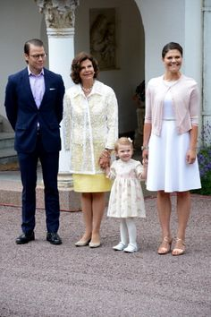 (L-R) Prince Daniel, Duke of Vastergotland, Queen Silvia, Princess Estelle and Crown Princess Victoria of Sweden attend the Victoria Day celebrations, on the Crown Princess's 37th Birthday, at Solliden, 14.07.2014 in Oland, Sweden.