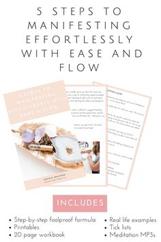 Learn how to manifest with this 20 page workbook, tick lists, MP3 meditations and more! Manifesting will become easy with this step-sy-step foolproof guide.