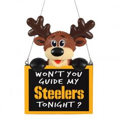 Pittsburgh Steelers Reindeer With Sign Ornament