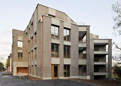 Concrete Facade, Precast Concrete, Brick Facade, Contemporary Architecture, Architecture Design, External Cladding, Building Exterior, Zurich, Facades