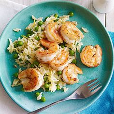 Garlicky Shrimp and Rice (parents.com week 4 meal planning) // This is not the most complicated dish (rice, peas, shrimp, garlic and lemon), but it's simple and good.
