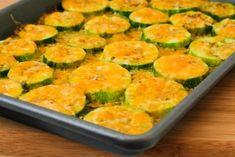 Val's Kid-Friendly Broiled Zucchini Rounds  with Cheese from Kalyn's Kitchen  #LowGlycemicRecipes  #SouthBeachDietRecipes