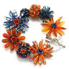 Orange and Navy Flower Bracelet Sunset by KathrynBowmanStudio, $189.00