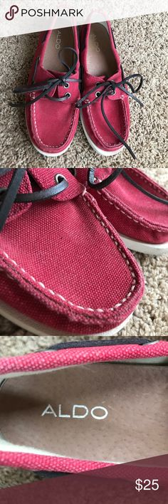 Red ALDO boat shoes Red Aldo Boat shoes. Only worn out twice! Aldo Shoes Flats & Loafers