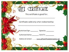 Gift Certificate Templates | gift certificates | Pinterest | Gift ...