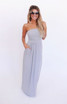 Strapless Ruched Top Maxi- Heather Grey - Dottie Couture Boutique