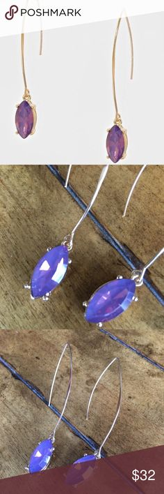 """Amethyst Drop Earrings Gold drop loop earrings with amethyst drop stone detail. Gorgeous purple hue color adds a perfect dainty accent to outfits with a sense of classic New York style. Length 2.5"""" Jewelry Earrings"""