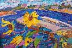 "Saatchi Art Artist Inna Kulagina; Painting, ""Wind.Driven Clouds. Wild Sunflowers"" #art"
