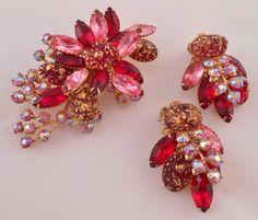 Vintage rhinestone earrings Vintage pink and scarlet by Rumis, $75.00
