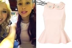 Outfit 3 Ariana Grande in one of her Keek videos with Jennette McCurdy – photo by ariana-grande.com Ariana looked cute in one of her Keek videos with Jennette McCurdy, a fellow Nickelodeon actress in a Topshop Petite Pearl Collar Peplum Top ($64.00).