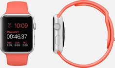 Apple Watch Sport  38mm and 42mm Case 7000 Series Silver Aluminum Ion-X Glass Display Composite Back  Sport Band Pink Fluoroelastomer Stainless Steel Pin