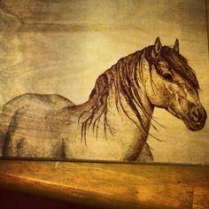 One of mine. #horse #woodburning #art