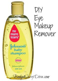 DIY Makeup Remover - (1 cup water, 1.5 tablespoons Tear Free Baby Shampoo,1/8 tsp baby oil) Mix ingredients together in small container.  Shake before every use.