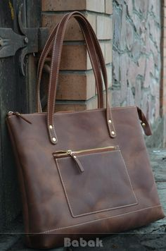 Leather tote with zipper leather tote bag leather tote Large Leather Tote Bag, Leather Purses, Leather Handbags, Large Tote, Leather Bags, Leather Bag Tutorial, Leather Bag Pattern, Laptop Shoulder Bag, Brown Leather Totes