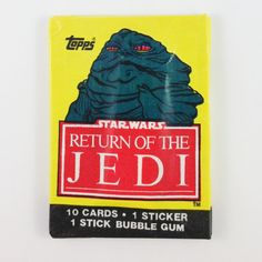 Star Wars Return of the Jedi: 1983 Series 1 Waxpack unopened pack of cards – Jabba